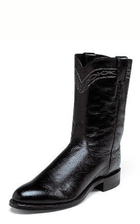 Justin Men's Exotic Ropers-10'' Black Smooth Ostrich Boots 3172