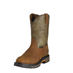 "Ariat Men's Workhog Pull-on Composite Toe 10""-Aged Bark/Army Green 10001191"