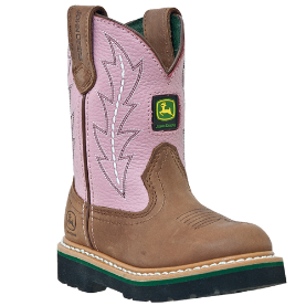 John Deere Youth  Wellington Boots - Pink Shaft JD3185