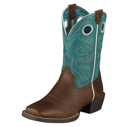 Ariat Youth Crossfire Kids-Brown Oiled Rowdy/Turquoise 10005989