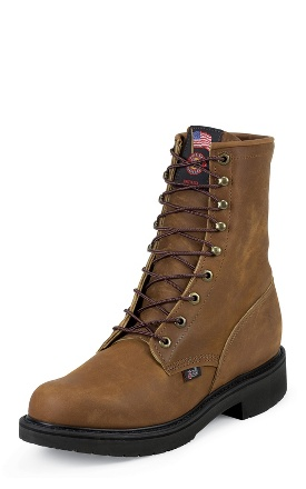 "Justin Men's 8"" Lacer-R Steel-Toe Boots - Aged Bark 795"