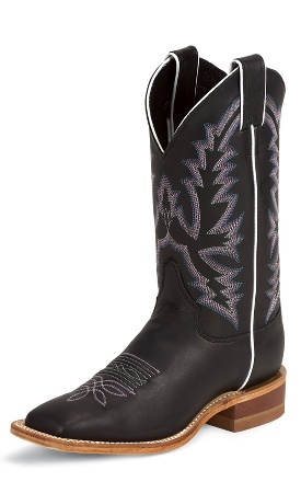 Justin Women's Bent Rail - Black Burnished Calf - BRL316