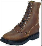 "Justin Men's 8"" Lacer-R Steel-Toe Boots - Aged Bark 764 (SKU: 764)"
