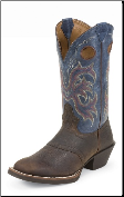 "Justin Men's 12"" Square Toe Western Boots - Dark Brown Rawhide/Blue Jean Dusty 2520"