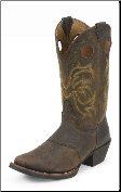 "Justin Men's 12"" Square Toe Western Boots - Dark Brow/Rawhide  2523"