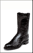 Justin Men's Exotic Ropers - 10'' Black Full Quill Ostrich Boots 3171