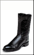Justin Men's Exotic Ropers-10'' Black Smooth Ostrich Boots 3172 (SKU: 3172)