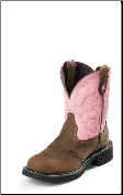 Justin Women's Gypsy Collection - 8'' Pink Cow with Diamond Cut Pull Strap Boots L9901