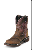 Justin Women's Gypsy Collection - 8'' Aged Bark with Diamond Cut Pull Strap Boots L9903