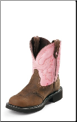 Justin Women's Gypsy Collection - 8'' Pink Cow Boots with Steel Toe WKL9981 (SKU: WKL9981)