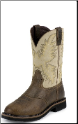 Justin Men's Steel Toe Work Boots: Stampede Collection- Waxy Brown Perfed Saddle Vamp WK4661 (SKU: WK4661)