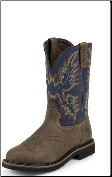 Justin Men's Steel Toe Work Boots: Stampede Collection- Copper Kettle Rowdy Perfed Saddle Vamp WK4666 (SKU: WK4666)