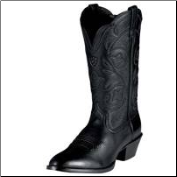 "Ariat Women's Heritage Western R-Toe 12"" Black Deertan Boot 10001037"