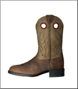 Ariat Kid's Heritage Stockman Western Boots - Distressed Brown/Brown Bomber 10001798