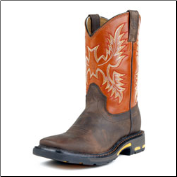 Ariat Boys Workhog Wide Square Toe Kids-Dark Earth/Brick 10007837