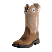Ariat Youth Workhog Wide Square Toe Tall-Distressed Brown/Beige 10008644