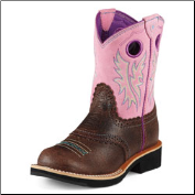 Ariat Girls Fatbaby Cowgirl Kids-Roughed Chocolate/Bubble Gum 10008723 (SKU: 10008723)