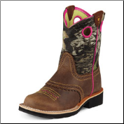 Ariat Girls Fatbaby Cowgirl Kids-Roughed Chocolate/Bubble Gum 10008724 (SKU: 10008724)