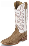 Justin Men's Aqha Lifestyle Collection Remuda Series - Antique Tan Vintage Full Quill Ostrich 8572