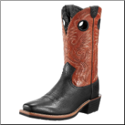 Ariat Men's Heritage Roughstock Square Toe- Black Bullhide 10009571
