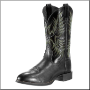 Ariat Men's Heritage Stockman- Black Deertan/Shiny Black 10009594