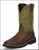 Justin Men's Plain Toe Stampede Boots: Hunter Green WK4687 (SKU: WK4687)
