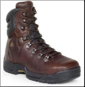 "Rocky Men's Mobilite 8"" Steel Toe Work Boot - Dark Brown Soggy Leather 6115"