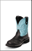 Justin Women's Gypsy Collection - 8'' Aqua Cow with Diamond Cut Pull Strap Boots L9905