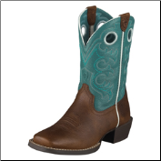 Ariat Youth Crossfire Kids-Brown Oiled Rowdy/Turquoise 10005989 (SKU: 10005989)